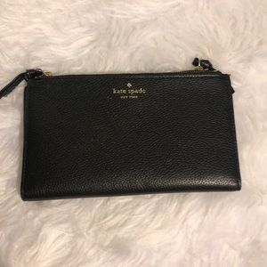 Kate Spade ♠️ Black Pebbled Leather Bifold Clutch